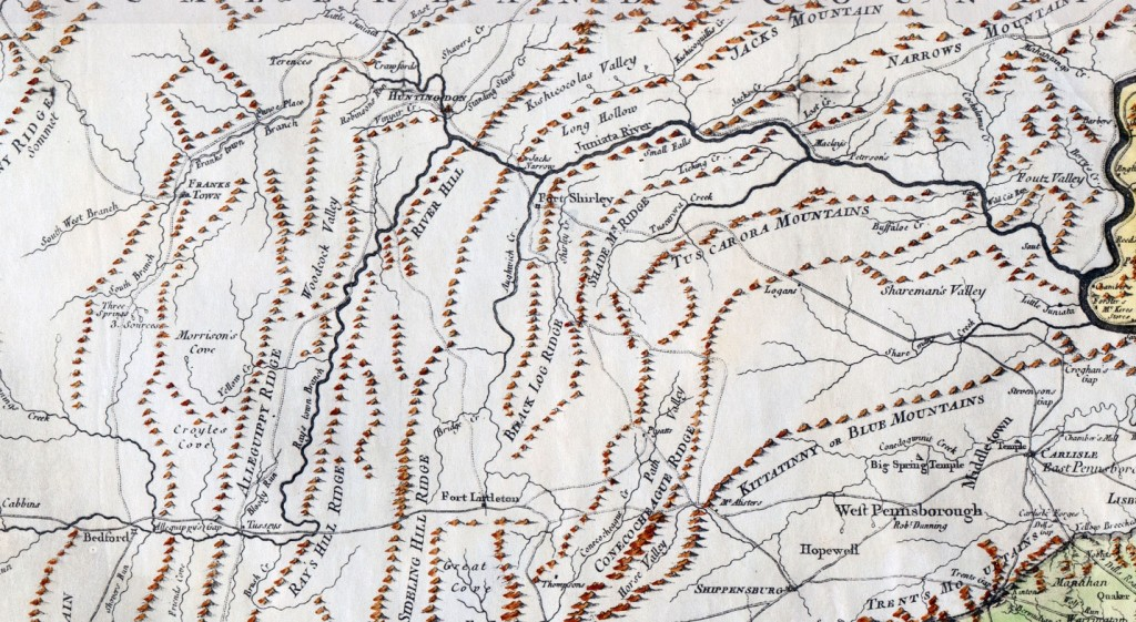 Early Map of terrain and Forbes Road, South Central PA