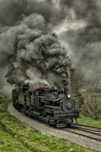 Runaway Steam Locomotive -- full load of coal freight