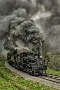 Runaway Steam Locomotive -- full load of coal freight