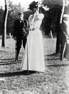 Margaret Abbott on golf course, circa 1904