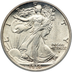 1916-S Walking Liberty Half Dollar, obverse (w/ Audrey Munson as Liberty)