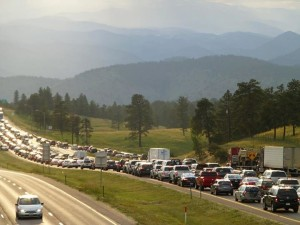 Typical Weekend Jam on I-70, west of Denver, CO